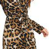 Women's Leopard Deep V-neck Knotted Back Long Sleeve Dress -