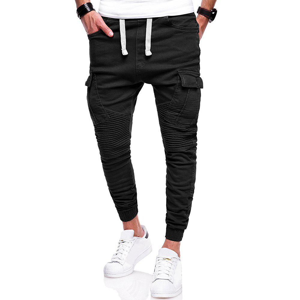 Men's Fashion Solid Color Pleat Stitching Casual Large Size Feet Pants, Black