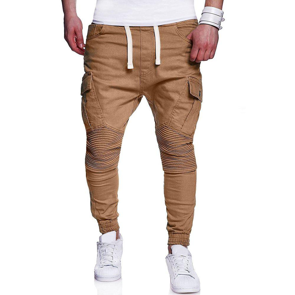 Discount Men's Fashion Solid Color Pleat Stitching Casual  Large Size Feet Pants