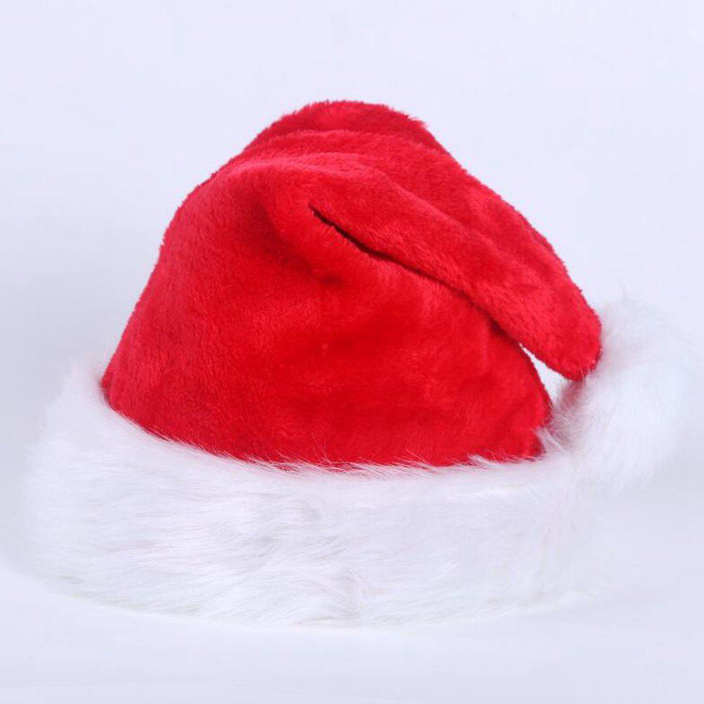 Fancy Christmas Hat Cap Party Santa Claus Red Plush Xmas Headgear Costume For Adults