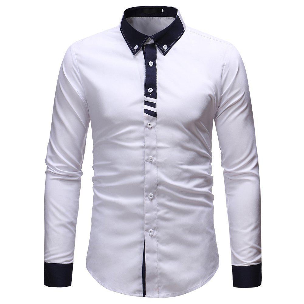 2018 Mens Fashion Contrast Color Stitching Casual Slim Long Sleeved