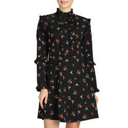 SBETRO Shirt Dress Black Floral Print Mock Neck Long Sleeve Elegant Dress Party -