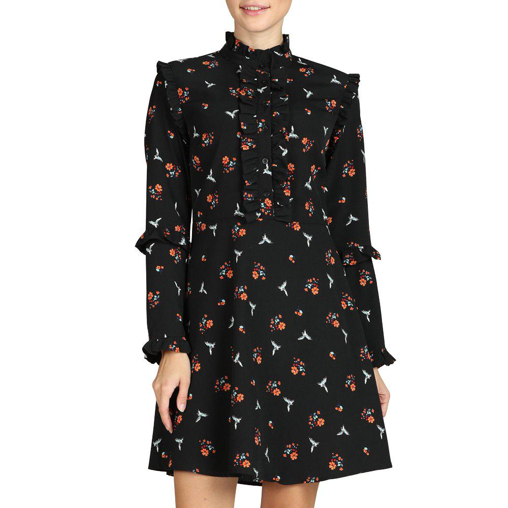 Fancy SBETRO Shirt Dress Black Floral Print Mock Neck Long Sleeve Elegant Dress Party