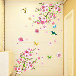 Butterfly Love Peach Blossom DIY Room Decoration PVC Wall Sticker -