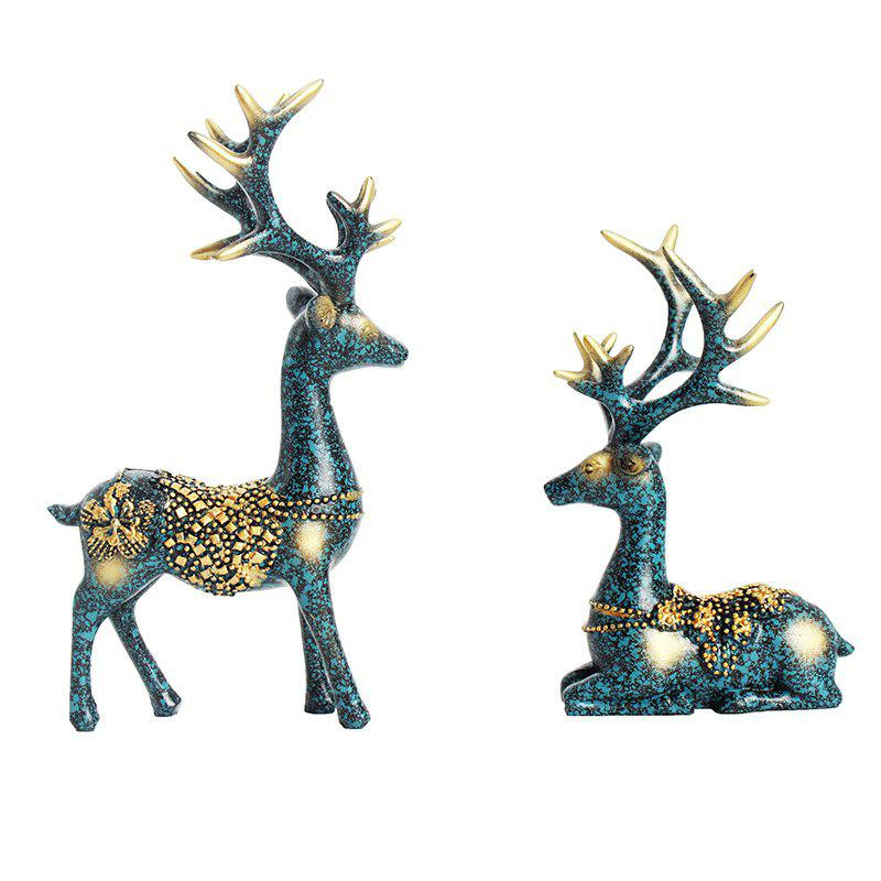 Shop 2PCS Resin Figurines Boutique Plum Flower Deer Ornaments