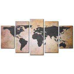 YISHIYUAN 5 Pcs HD Inkjet Paints Old Grey Map Decorative Painting -