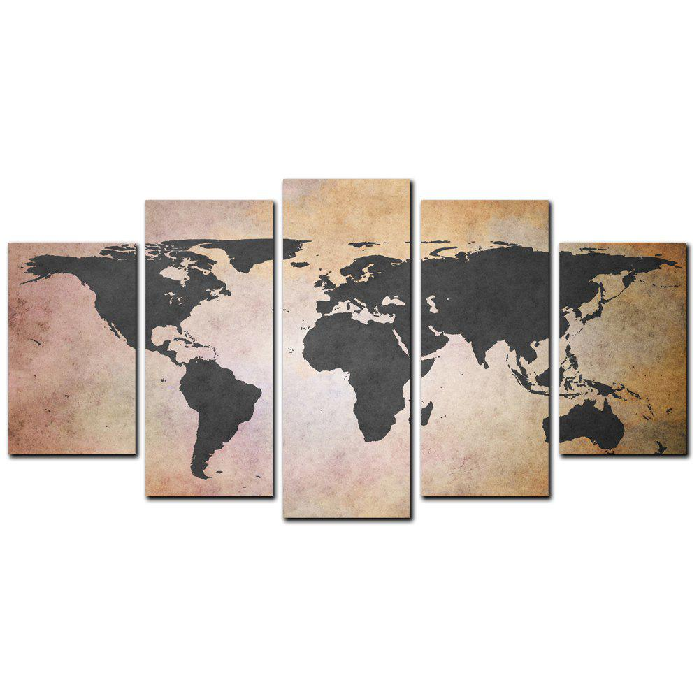Hot YISHIYUAN 5 Pcs HD Inkjet Paints Old Grey Map Decorative Painting
