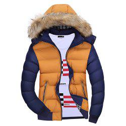 Winter Men'S Wear Winter Clothes Cotton Men with Hat Hat Collar Feather Wear -