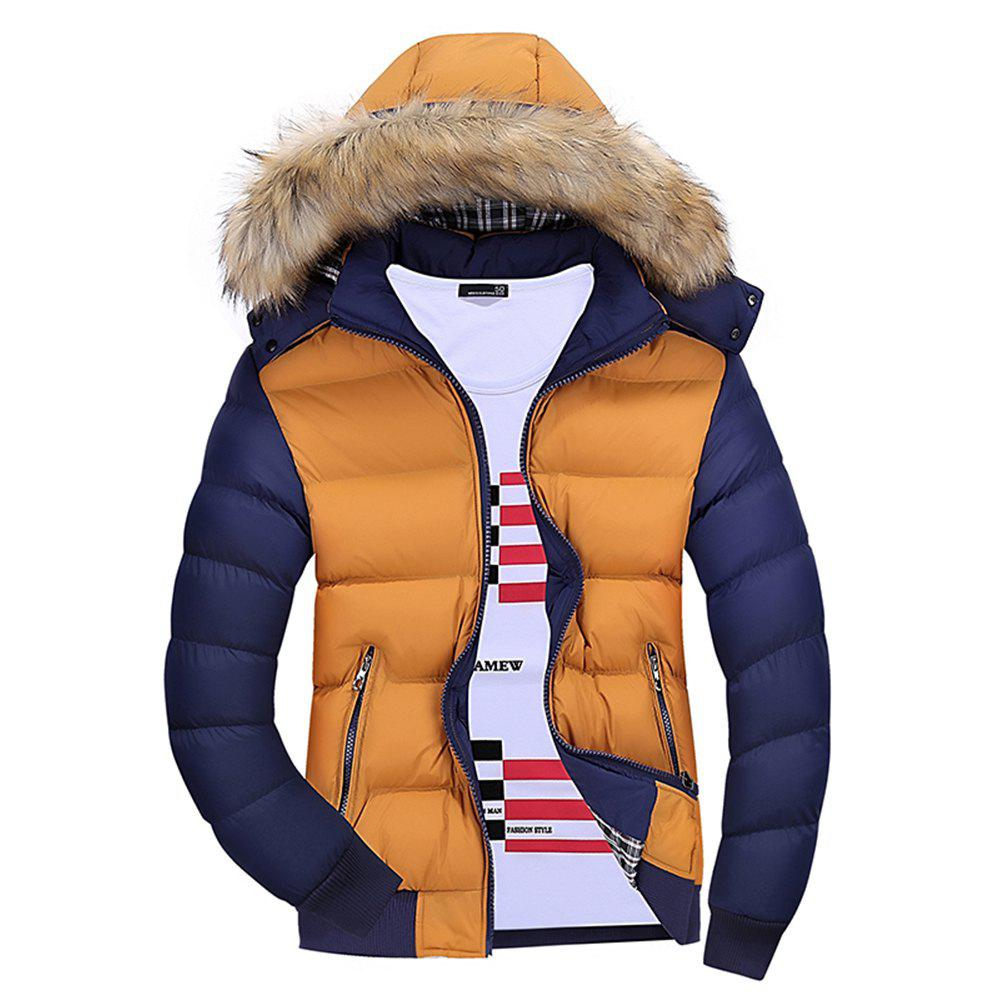 Chic Winter Men'S Wear Winter Clothes Cotton Men with Hat Hat Collar Feather Wear