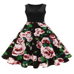 Dress V-Neck Print Vintage Hepburn Dresses in Full Swing -