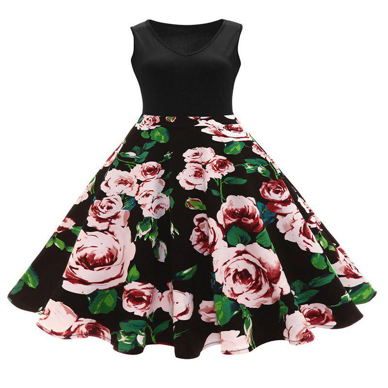 Shop Dress V-Neck Print Vintage Hepburn Dresses in Full Swing
