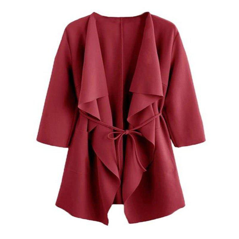 Hot The New Lady Folds The Collar Long Sleeve Coat The Fashion Windbreaker