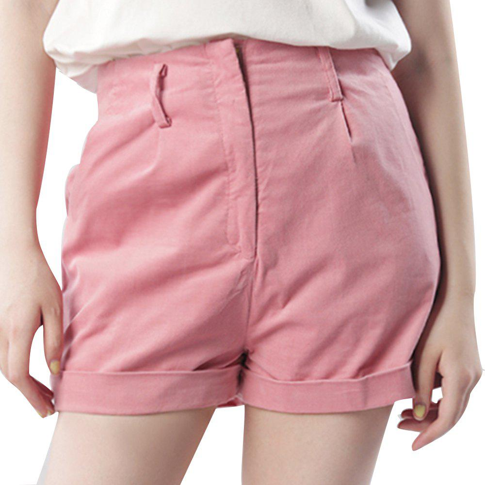 Best Simple Leisure and Sweet Commuter Corduroy Curling Wide Leg Shorts