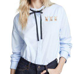 Sweet Bunny Embroidered Tied Leading Muffin Shirt -