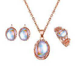 Pendant Necklaces Earrings Rings Crystal Stone Jewelry Sets For Women -