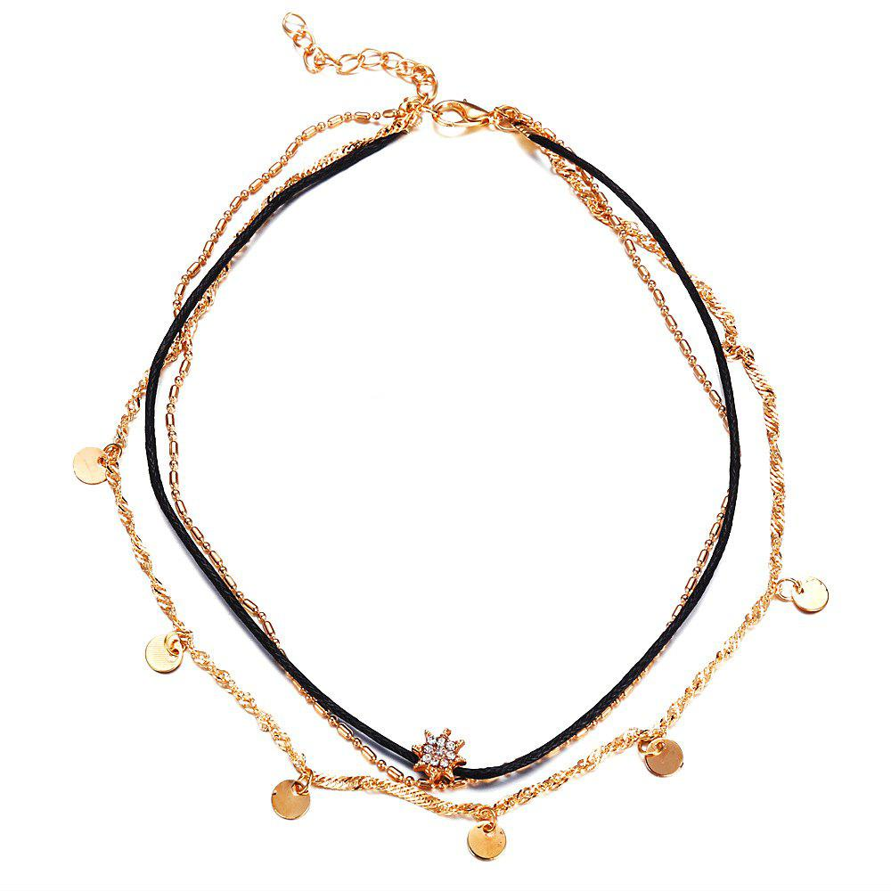 Outfits Fashion Multilayer Statement Crystal Pendant Necklace For Women