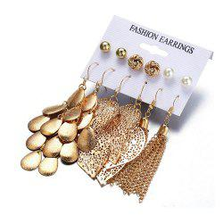 Bohemia Leaves Tassel Long Drop Sequins Simulated Beads Earrings -
