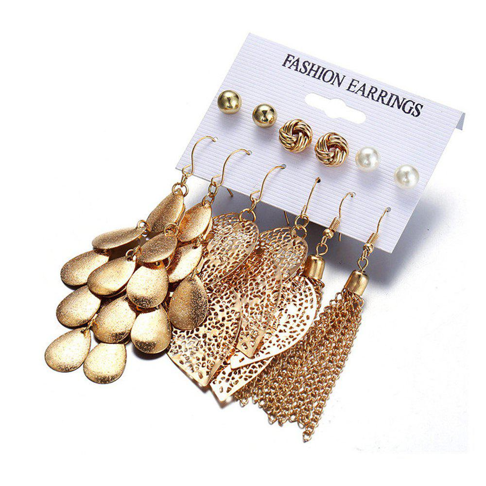 Latest Bohemia Leaves Tassel Long Drop Sequins Simulated Beads Earrings