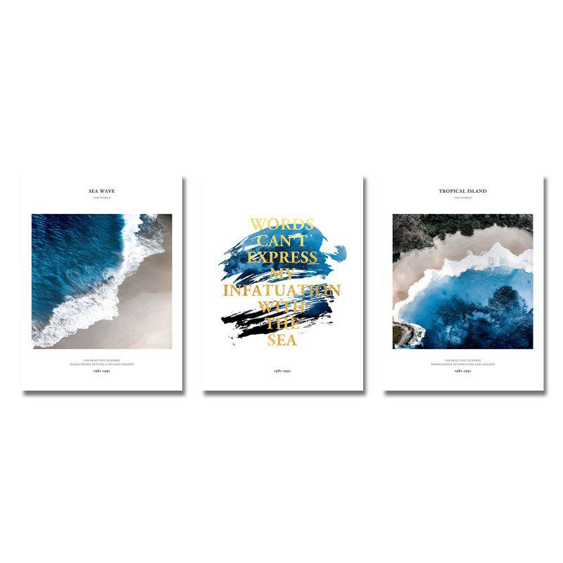 Unique DYC 3PCS Seawater English Alphabet Print Art