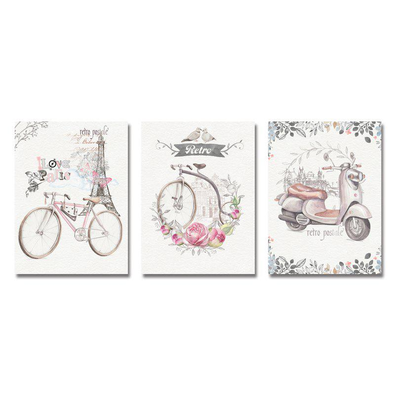 Outfit DYC 3PCS Bicycles in Pastoral Vines Print Art