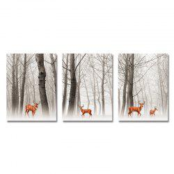 DYC 3PCS Wild Deer in The Woods Print Art -