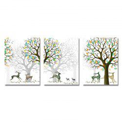 DYC 3PCS Wild Deer in Art de forêt dessin animé -