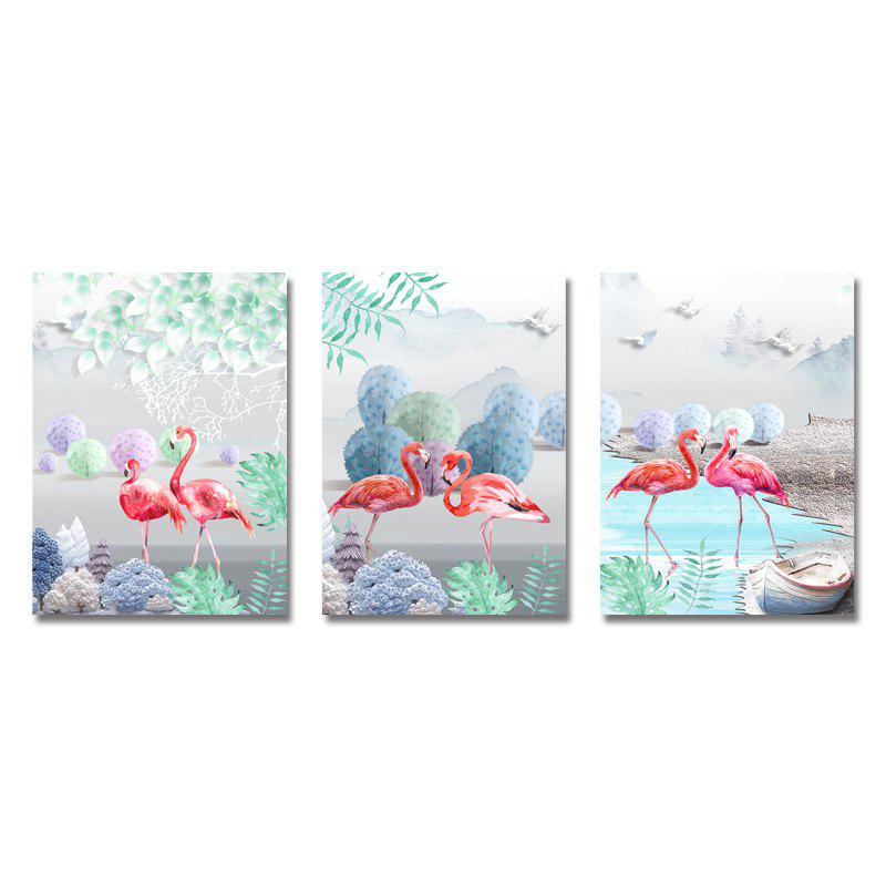 Outfits DYC 3PCS Flamingos in The Lake Print Art