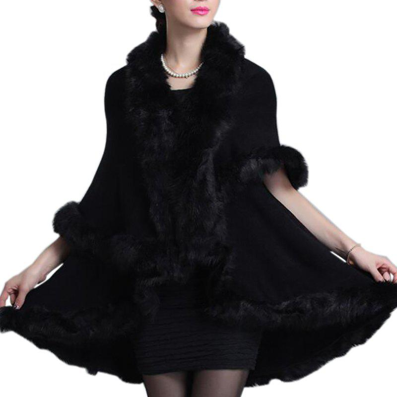 Fancy Women Oversized Sweater Faux Fur Coat Shawl Collar Sweaters