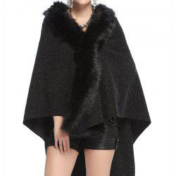 Women Coat Faux Fur Hoodie Poncho Oversized Winter Coats -