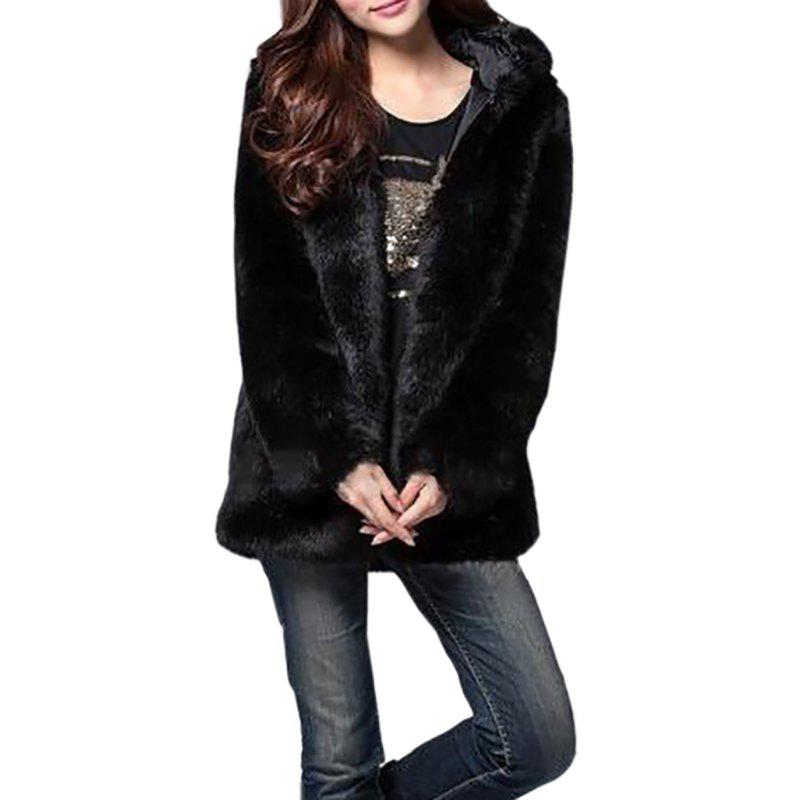 Online Faux Fur Coat Women White Long Sleeve Hooded Winter Overcoat