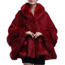 Women Poncho Wrap Faux Fur Collar Hooded Long Sleeve Cotton Oversized Cape Coat -