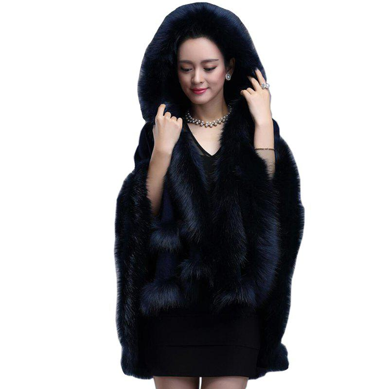 Discount Women Poncho Wrap Faux Fur Collar Hooded Long Sleeve Cotton Oversized Cape Coat