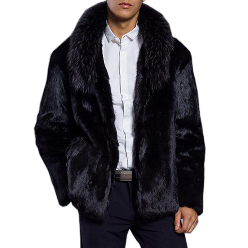 Fashion Men Faux Fur Coat Black Turndown Collar Long Sleeve Winter Coat