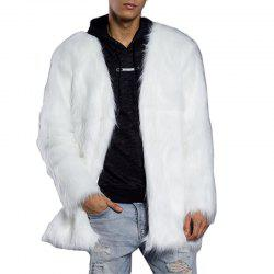 Men's Faux Fur Coat  V Neck Long Sleeve Regular Fit Long Coat -
