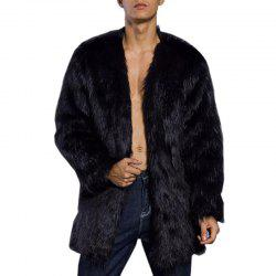 Men's Faux Fur Coat V Шея с длинным рукавом Regular Fit Long Coat -