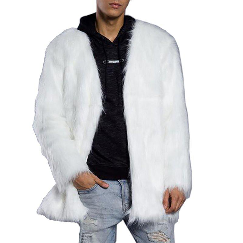 New Men's Faux Fur Coat  V Neck Long Sleeve Regular Fit Long Coat