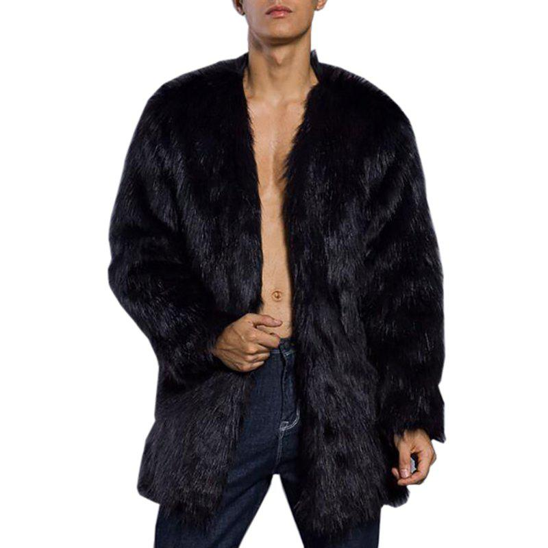 Online Men's Faux Fur Coat  V Neck Long Sleeve Regular Fit Long Coat