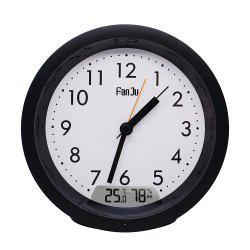 FanJu FJ5132  Small Analog Alarm Clock Non Ticking / Indoor Tempera -