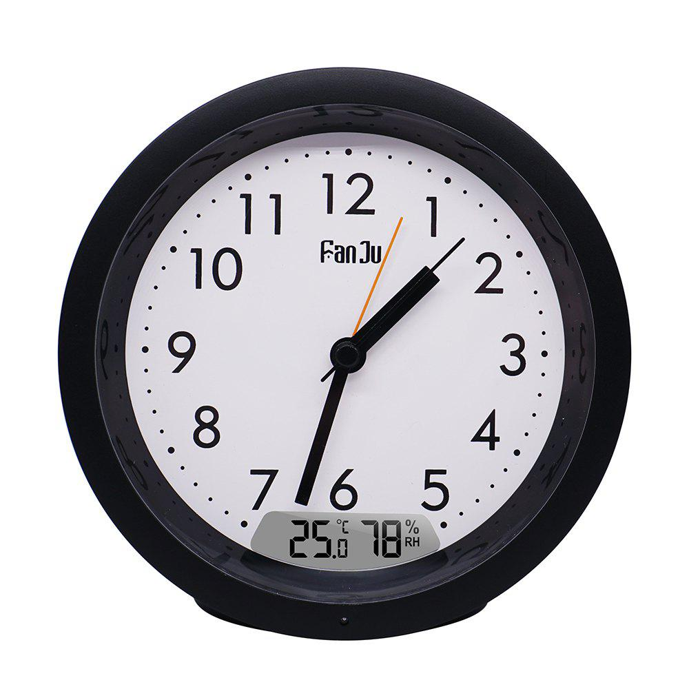 Latest FanJu FJ5132  Small Analog Alarm Clock Non Ticking / Indoor Tempera