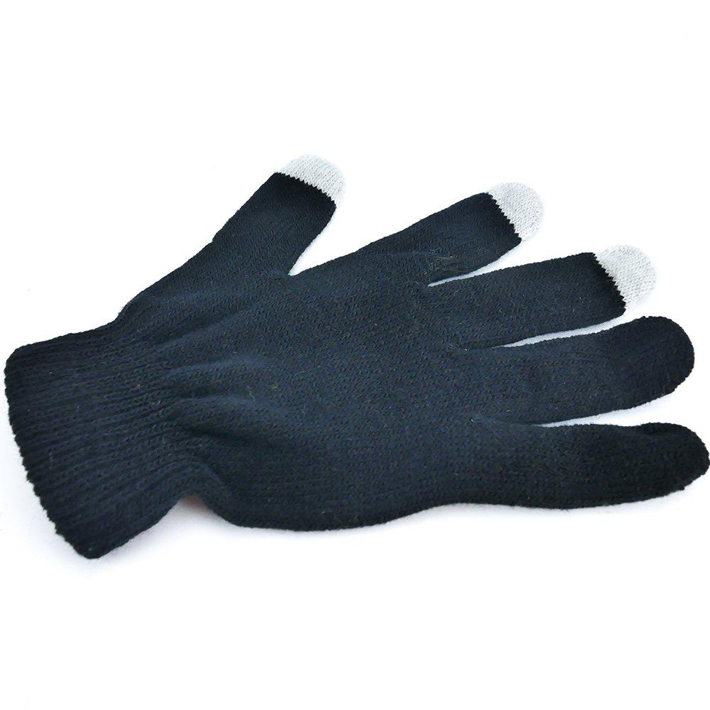 Fashion Women Men Cotton Knitted Touch Screen Gloves Black Color
