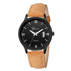 Geneva Men Fashion Classic Business Calendar Strap Quartz Watch -