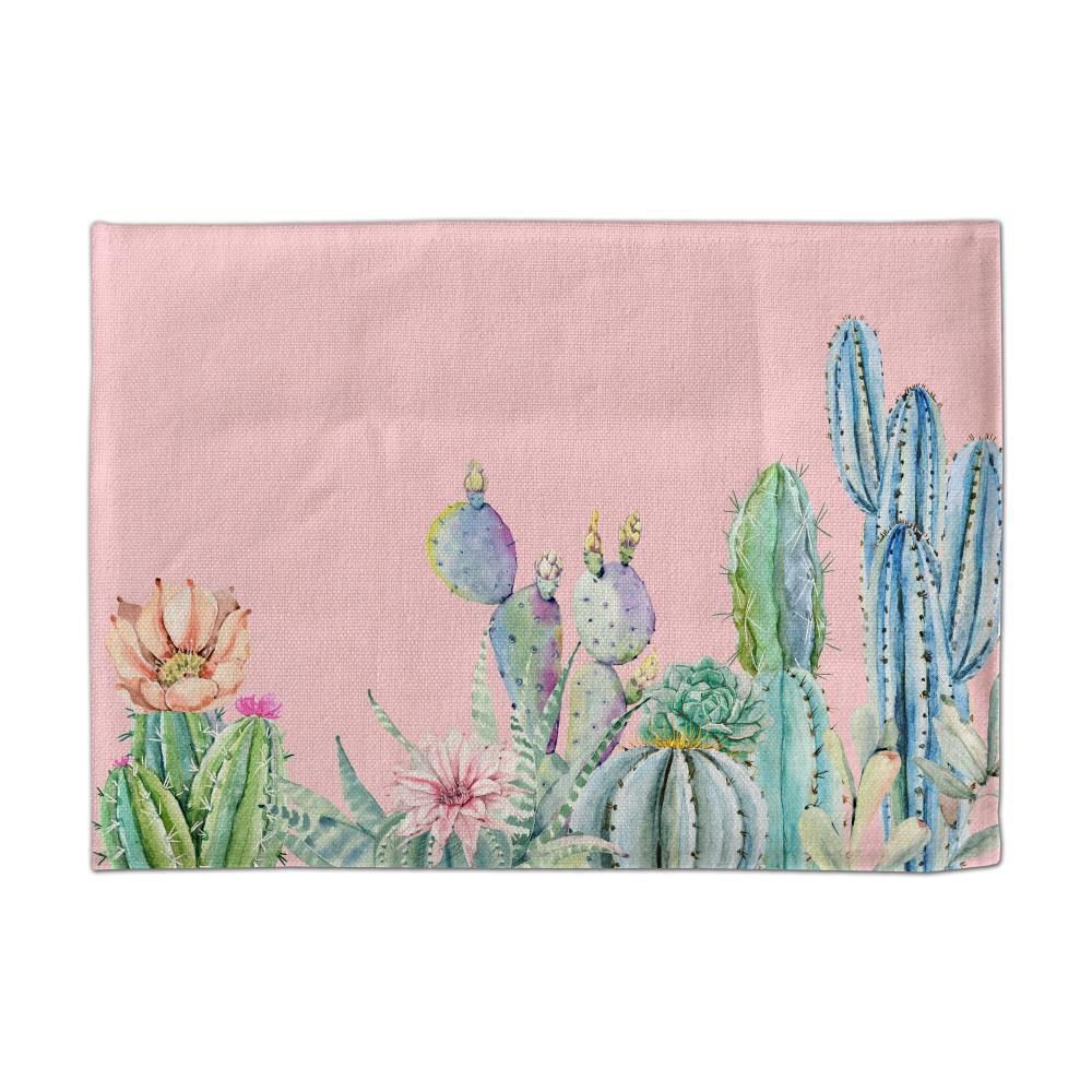Fancy 3D CACTI  Digital Single-Sided/Double-Sided Printed Linen Table Mat