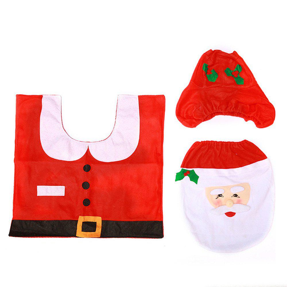 Fancy Christmas Decoration Santa Toilet Seat Cover Rug Bathroom Mat