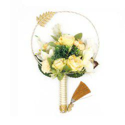 Luxury Handmade Fan Wedding Chinese Style Decoration Artificial Holding Flowers -