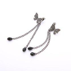 Black Crystal Clear Bowknot Fringe Earrings -