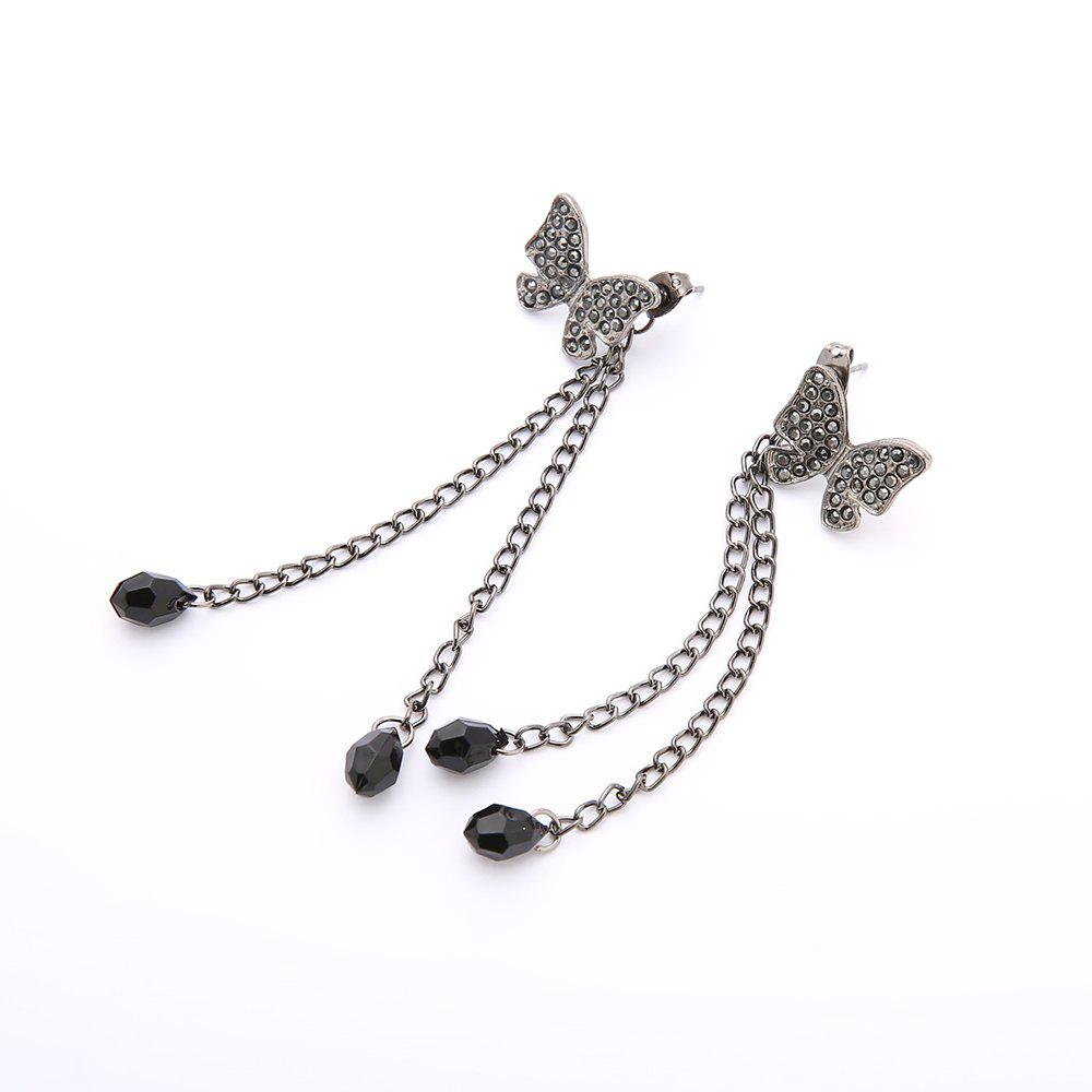 Latest Black Crystal Clear Bowknot Fringe Earrings