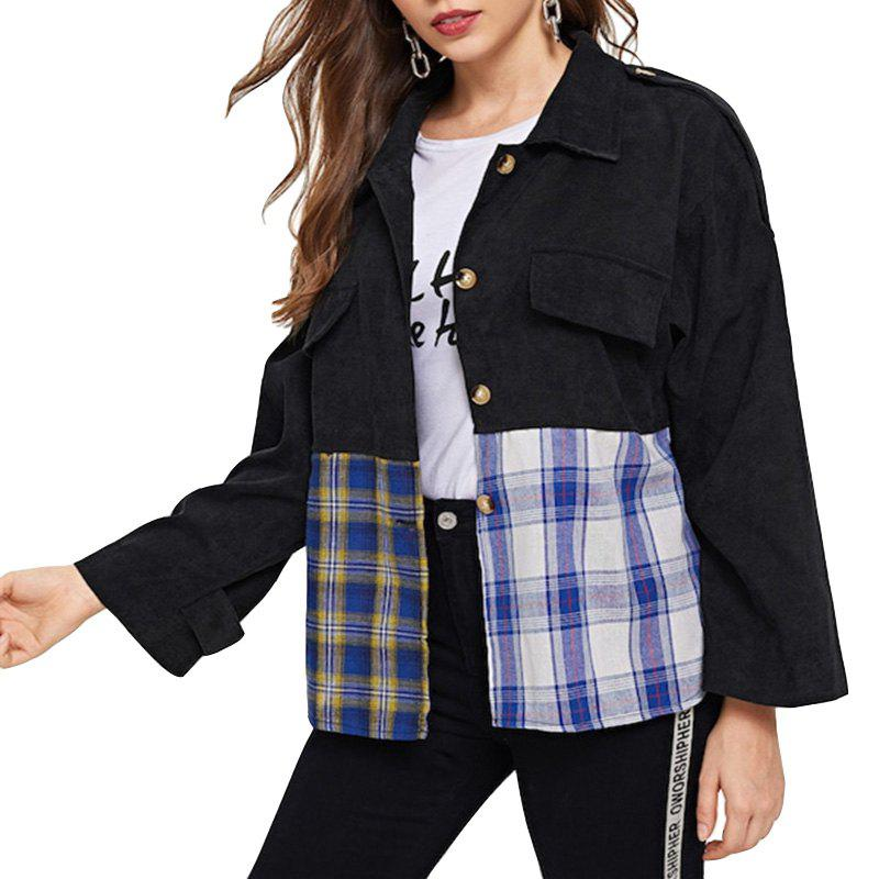 Latest Women's Coat Plaid Corduroy Long Sleeve Jacket