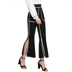 Women'S Hem Split-Fork Striped Flared Trousers Casual Pants -