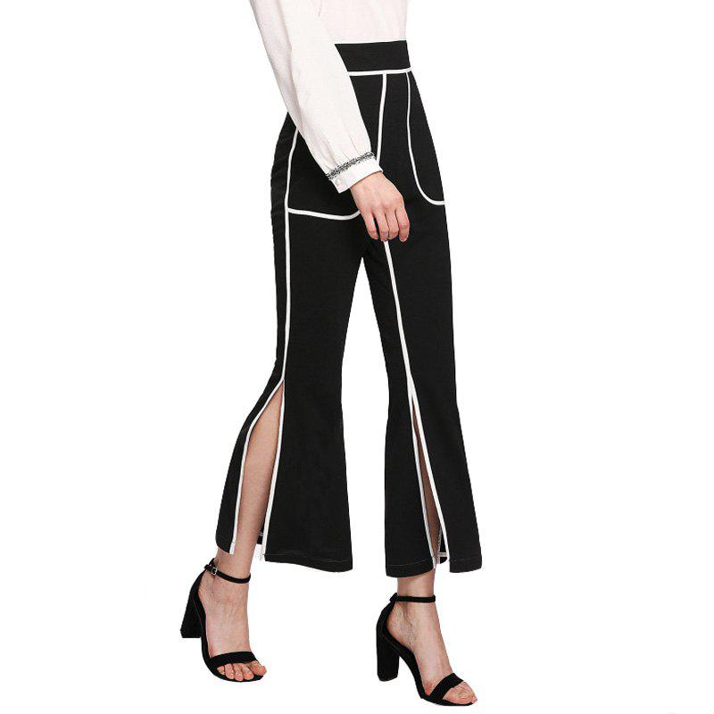 Outfit Women'S Hem Split-Fork Striped Flared Trousers Casual Pants