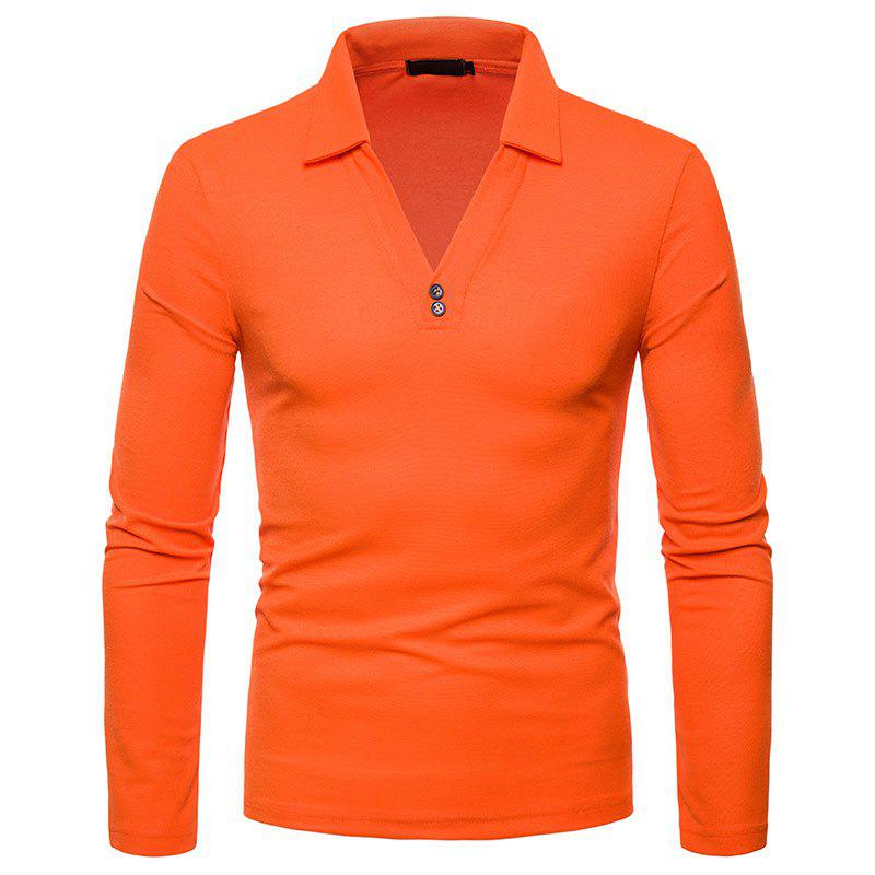 6914a471350a Fancy Men s Fashion V-neck Design Solid Color Long Sleeve Casual Slim T- Shirt